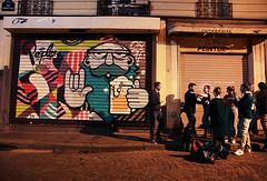 Paris Peinture (kirstiecat (on vacation...)) Tags: paris france europe painting peinture strangers people beautifulstrangers canon street dark night evening mural art streetart