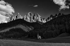 Val di funes (leoskar) Tags: landscapes mountains blackandwhite monochrome bw forest church italy nikonpassion nikon nikkor clouds südtyrol dolomites dolomiti