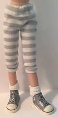 Gray And White Striped Leggings...For Blythe...