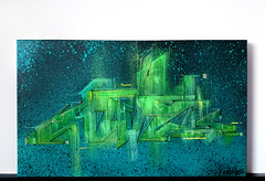 'GREEN GLOW' - mixemdia on canvas 30x50 cm (adel_one2wh) Tags: graffiti artwork graff lines architectural green glow letters painting canvas artgallery adel1 adelone2wh spray montana cans loopcolors art abstract design interior shape acryl