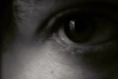 Blurry Eye 12 (Callums art) Tags: bw blackandwhite monochrome monochromatic mono dslr sony dark edited photoshop filter abstract surreal dreamy blurred blurry blur me i self myself selfportrait portrait pupil iris face eyes eye eyelash eyebrow