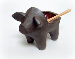black ceramic salt pig (Protean Crafts) Tags: black clay ceramic red saltcellar functional pottery kitchen gift etsy proteanart art artwork sculpture tableware dispenser cute kawaii sculpted small figurine chef cooking bowl serving ware craft handcrafted original design handmade animal natural rustic southern charm cottage decor decoration home farm bbq salt high fire