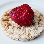 Multigrain rice cakes with strawberries fruit thumbnail