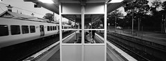 Mont Albert Station (@fotodudenz) Tags: hasselblad xpan film rangefinder ultra super wide angle 30mm mont albert train station melbourne victoria australia 2017 platform kodak bw400cn street photography