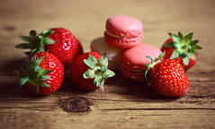 Sweet Delights (Through Serena's Lens) Tags: stilllife dof delights sweet fruits strawberries cookies dessert french macaroons red pink tabletop delicious 7dwf