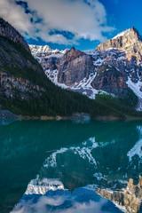DSC07129_hdr (www.mikereidphotography.com) Tags: banff lakemoraine canadianrockies reflection moraine water trees landscape sunrise