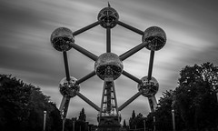 Black and White Atoms (NOAC_) Tags: blackandwhite architecture abstract futurism futuristic futurist modern modernist design atomium brussels brussel bruxelles belgie belgique europe travel monument landmark shape longexposure neutraldensity leebigstopper sky skies clouds cloud light dusk pentaxk5iis sigma28mmf18exdg