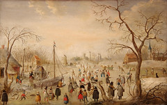 « Vinter » (« Hiver », 1618), Hendrick Avercamp (1585-1634) (David Farreny) Tags: muséenationaldenorvège nasjonalgalleriet norvège norway norge oslo christiania hendrickavercamp peinture painting tableau art xviiesiècle 17thcentury hiver winter vinter paysage landscape patineurs skaters arbres trees bateau boat église church glace ice lac lake gelé frozen neige snow flamand flemish