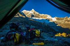 A look outside the tent as we wake up to the sun rising on the glacier.