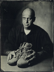 Try Walking In My Shoes (mmeshka) Tags: alternative alternativephotography ambrotype blackandwhite collodion epsonv600 fkd18x24 industar37 largeformat tintype wet plate wetcollodion portrait indoor people