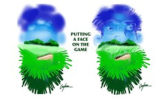 PUTTING A FACE ON THE GAME. (golfbag3) Tags: caricature overlay golfsettinglandscape