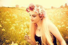 In fields of gold (sophie_merlo) Tags: yellow blonde teen teenager butterfly fields spring summer girl pretty rapeseed floral fantasy beautiful