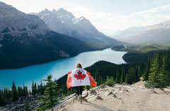 On Top Of The World (Evan RusseII) Tags: alberta travelalberta travelab abparks canada flag mountain exploring lake nature naturalpark canada150 hiking landscape patriot forest calm peyto ab peytolake