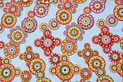 Atoms and Molecules (Crash_Gordon) Tags: color paisley atom tablecloth table summer molecules orange red yellow pink pattern
