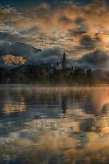 Golden mist on bled lake (Drjdam) Tags: hdr bled vaction water clouds mist mysterious chrch island reflection landscape