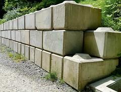 Blocks (walneylad) Tags: concrete cement blocks lego grey retainingwall perspective trail park westvancouver britishcolumbia canada capilanoriverregionalpark nature scenery view sun shadow stones art green gravel