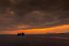 sunset 8804 (junjiaoyama) Tags: japan sunset sky light sun cloud weather landscape orange contrast colour bright lake island water nature summer