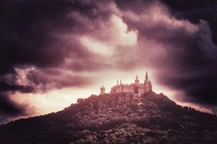 the castle on the top of the fire hill (***étoile filante***) Tags: castle schloss hill hügel berg mountain sky himmel clouds wolken fire feuer emotions emotional poetisch poetic light licht