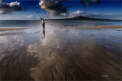 Old Lady Enjoying Walk (elpedro1960) Tags: lady old walk beach water sky cloud clear sunny reflections neck narrow devonport auckland new zealand