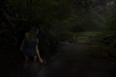 fireflies and candlelight (ladykdawg) Tags: candles mystery magic fantasy birthday fireflies fairies faeries nature dark conceptual time years girl youth age beauty mysterious dress blue forest woods stream greatsmokymountainsnationalpark artistic ethereal surreal dreamlike mythical