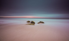 Band of Red (ianbrodie1) Tags: seascape druridge bay sunrise sand beach rocks coast coastline horizon leefilters water sea ocean northumberland nikon d750 longexposure cloudsstormssunsetssunrises cloud red moss