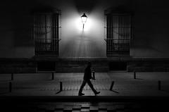 (cherco) Tags: night noche nocturne negro nocturna man lonely walker window ventana solitario solitary silhouette shadow silueta sombra street solo sombras light luz lampara lantern urban loner composition composicion city canon ciudad blackandwhite blancoynegro 5d