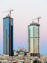 Jordan Gate Towers (Mashhour Halawani) Tags: jordan amman towers crane sunset dawn buidings middleeast travel holiday architecture ammangovernorate jo reflection glass