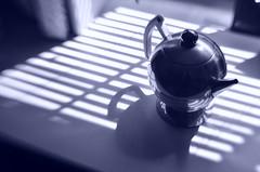 Teapot Grid (MPnormaleye) Tags: teapot tea kettle chrome reflection deco chase grid slats shadows moody composition monochrome cyan cyanotype effect blue utata lensbaby seeinanewway