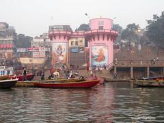 Colourful Bathing Ghats on the River Ganges - Varanasi Uttar Pradesh India (WanderingPhotosPJB) Tags: flickruploaded india uttarpradesh varanasi river ganges ganga ghats bathing hindu hinduism