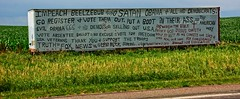 WELCOME TO NEBRASKA (akahawkeyefan) Tags: trailer writing billboard homemade nebraska davemeyer biblethumpers nutcases hateful