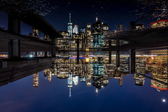 Upside Down // New York (//Sebastian) Tags: new york city usa skyline reflection water pont puddle brooklyn heights park bench oneworldtradecenter rain wet lights night view panorama windows manhattan eastriver fdr drive