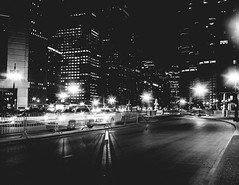 Night Traffic (Dan Constien) Tags: chicago nighttime transportation traffic longexposure sonya7 blackandwhite urban city streetphotography light trails shadows building star danconstien midwest midwestmoment midwestival