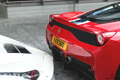Italian Style (Beyond Speed) Tags: ferrari laferrari 458 speciale supercar supercars car cars carspotting nikon v12 v8 hybrid white red stripes london knightsbridge combo automotive automobili auto detail