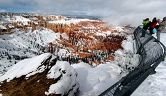 Bryce Canyon National Park, Utah (Prayitno / Thank you for (12 millions +) view) Tags: konomark panorama panoramic view bryce canyon national park ut utah winter cold snow scenery scenic point outdoor gloomy cloudy snowing day