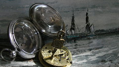The Seventh Day (Rand Luv'n Life) Tags: odc our daily challenge key antique irish fusee pocket watch belfast ireland wightman london silver hallmarked case george f hargitt gouache painting sailing ships two years before the mast text indoor composition