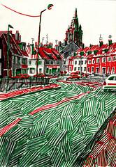 Place de Norvège, Calais nord (tintin62100) Tags: calais eglise drawing dessin marqueur ville encre street house art town
