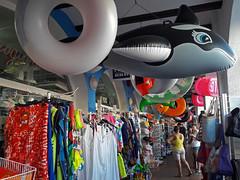 summer shopping (maximorgana) Tags: salvavidas flotador beluga whale clothes rack hanger label price tage people lamanga elzoco basket summer