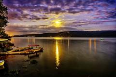 DSC08987 (Orhan Kılıç) Tags: gölyazı bursa turkey türkiye lake water boat sky skyline skyscraper clouds trees moon reflection moonlight nightphotography night longexposure