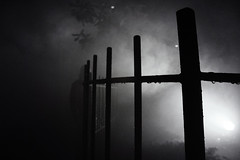 (Fire At Will [Photography]) Tags: fire will photography fw photo kings dominion virginia va theme amusement park 2015 night halloween haunt black white bw silhouette fence fog contrast attraction