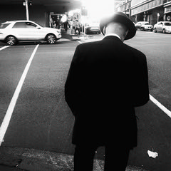... (andy961688) Tags: blackandwhitephotography blackandwhite bw black white streetphotography iphoneography outofthephone mobilephotography awesome cool grainy iphone iphone4 man gentleman hat square classic flare moving car street