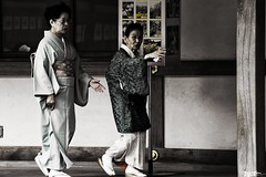 Walkway (Bamboo Barnes - Artist.Com) Tags: japan history tradition traditional oriental kimono women monochrome grey black white blue red wall walkway shrine bamboobarnes digitalart photo yellow