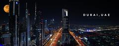 Dubai at night (fonskie12) Tags: dubai travel uae skyline skyscrapers burjkhalifa highway nikon panorama buildings architecture highways nightscape long exposure