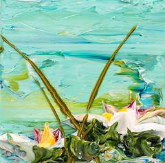 JUSTIN GAFFREY LP12X12-2017-127 (Justin Gaffrey) Tags: waterscape art painting acrylicpaint lake reeds waterlillies lilliepads pond water green aqua blue 12x12 30a sowal artist florida floridaartist justingaffrey