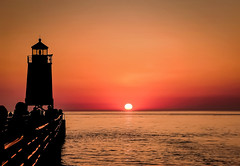 Sunset (T P Mann Photography) Tags: charlevoix michigan sunset sun dusk golden gold canon eos dslr horizon landscape seascape lake sea water reflection light summer lighthouse silhouette pier pure