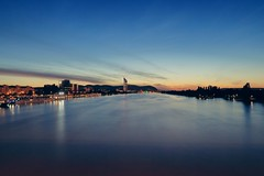 Blue Danube (No_Mosquito) Tags: vienna austria city night dusk twilight blue river danube water bridge cityscape evening summer canon powershot g7xmarkii reichsbrücke long exposure nd8 urban view