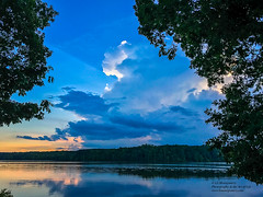 Another Evening at Lake Brandt (Linda S. Montgomery) Tags: lakebrandt greensboronc lake sunsetlake lakescape clouds