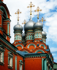 Church of St. Gregory of Neocaesarea, Moscow (Tiigra) Tags: 2004 architecture baroque church city color dome moscow ornament repetition shape arch pattern