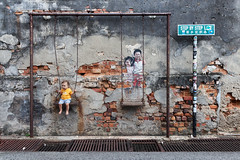 Children on the Swing (espinozr) Tags: malaysia asia 2017 southeastasia penang streetart louisgan chuliastreetghaut georgetown graffiti childrenontheswing swing toddler cool7 70 unanicool iceboxcool