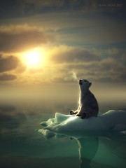 Lookin' at the big sky (Mark Frost :)) Tags: ice snow water sea cold polar pole antarctic arctic frozen freezing bear white polarbear cg cgi 3d render iray daz studio digital art sun sunshine cloud clouds breath condensation