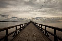 Långbryggan (mariita polner) Tags: sweden scandinavia sverige wooden bridge lakeside lake clouds sky siljan dalarna sunset ligths water